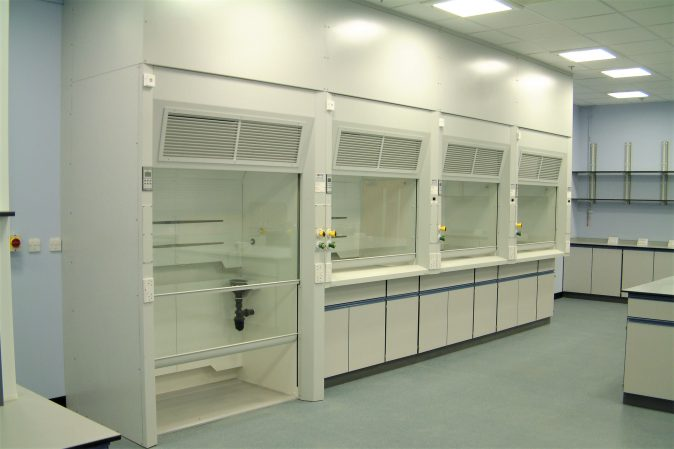 APMG Walk-in fume cupboard designed for medical device manufacturer BS EN 14175