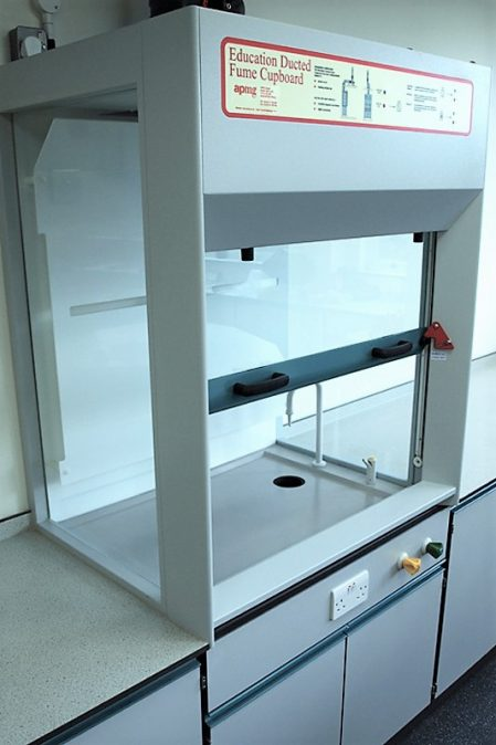 APMG school fixed ducted fume cupboard with 3 glass sides
