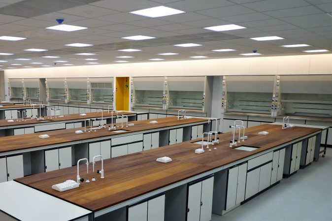 University labs with Iroko worktops and Airform fume cupboards