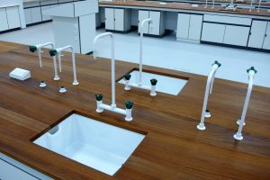 Lab sinks, taps, IPS units - Belfast sink, Iroko worktop, and specialist tap configuration