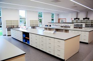University labs - Chemistry lab with fixed pedestal lab benching system