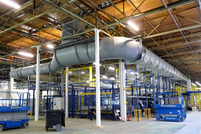 Ductwork installation for large industrial facility