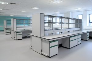 Healthcare labs with spur reagent shelving, cantilever benching and mobile units