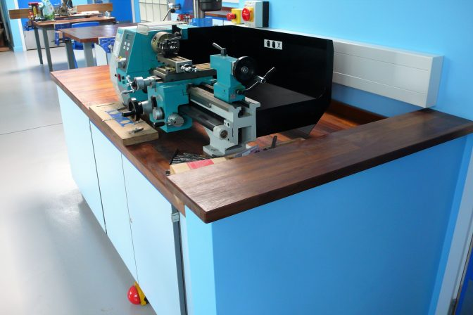 School Multi materials furniture - tough Iroko worktop pedestal benching system