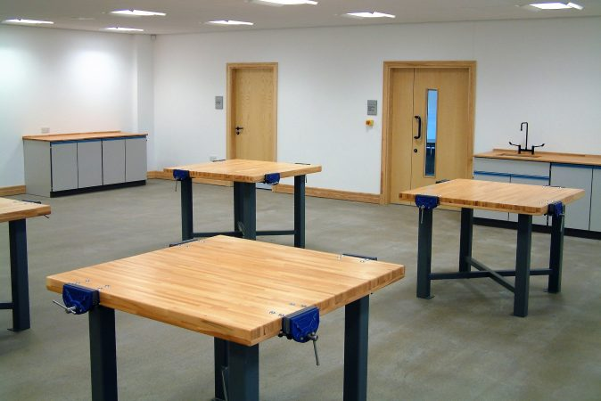 School design technology furniture - tables with beech worktops heavy-duty 3 mm RHS steel frame