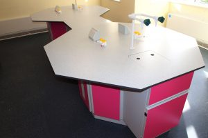 School science lab furniture Octagon units in dumbbell layout with services and sink cover