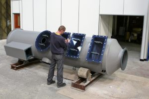 Packed bed fume scrubber being manufactured in our Manchester factory