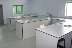 Pupil Referral Unit lab with Trespa lab furniture and lockable isolator boxes for services