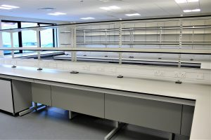Research lab furniture with cantilever benching, spur shelving and mobile storage units