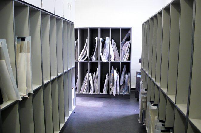 School art room furniture - portfolio board racks