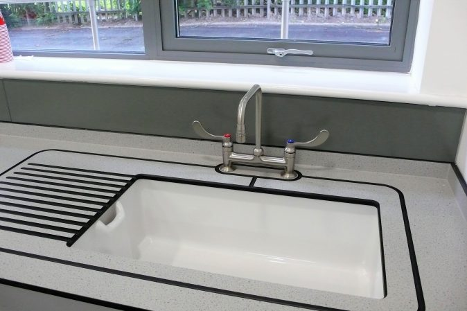 School art room furniture - sink and Trespa drainer with lever wrist-operated mixer tap