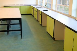 School art room furniture with sinks and perimeter benching