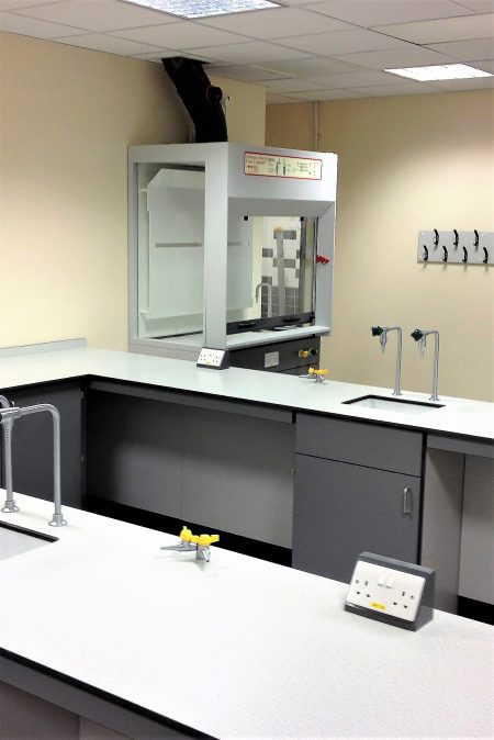 APMG school fixed ducted fume cupboard and matching lab furniture