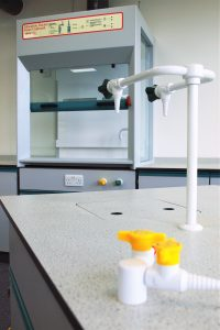 APMG school fixed ducted fume cupboard with 3 glass sides for demonstrations