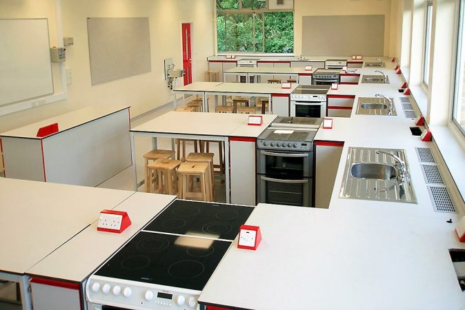 School food tech furniture matching red pedestal boxes and handles