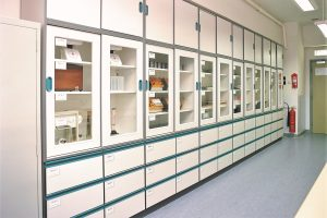 APMG's school prep room designs can include bespoke storage in corporate colours