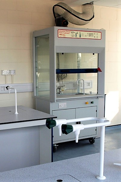 School semi-mobile fume cupboard with glass to all 4 sides