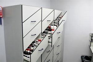 Smart laboratory storage with angled drawer and bespoke stepped plastic drawer inner