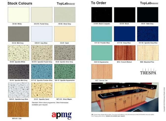 TopLab Base lab worktops latest colour choices
