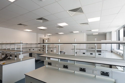 lab furniture, reagent shelving, spur lab shelving, trespa