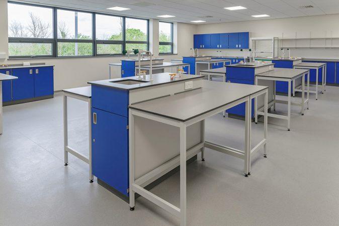 lab tables around service pedestals